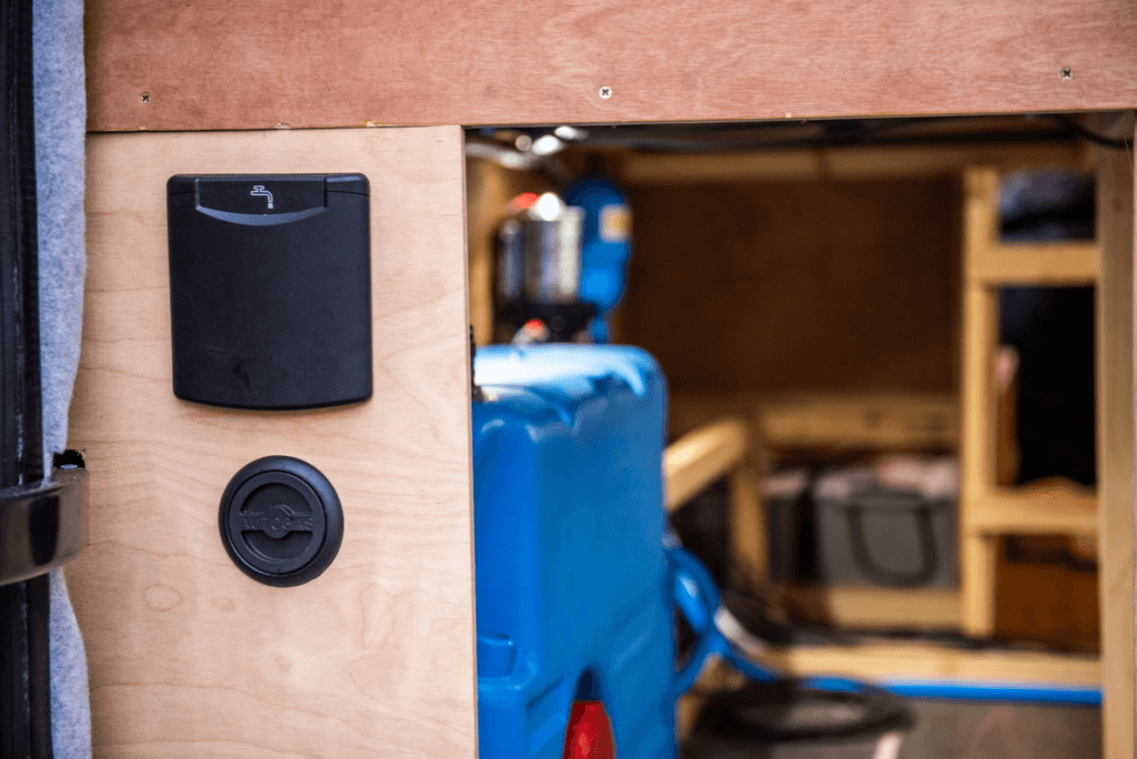 water fill point and water tank installed in a campervan water system